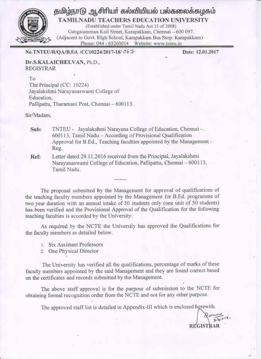 Jayalakshmi narayanaswami college of education chennai staff approval aiddatafo Gallery